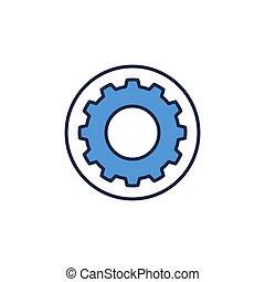 cog, 或者, 齿轮, 矢量, 蓝色, 环绕, 轮子, 图标, 概念