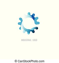 cog blue colour logo. industrial. vector. on white background. icon. symbol