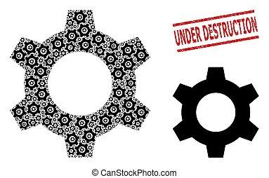 Cog Composition of Cog Icons and Scratched Under Destruction Seal