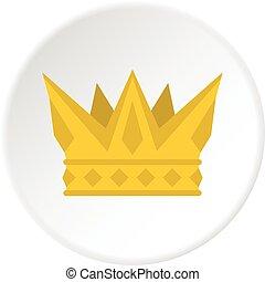 Cog crown icon circle
