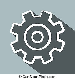 Cog. Flat Design Long Shadow Vector Gear Icon.