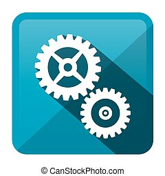 Cog - Gear Blue Vector Rounded Square Icon