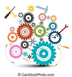 Cog - Gear Illustration - Vector Cogs - Gears and Tools Isolated on White Background