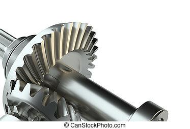 Cog gears mechanism concept. 3d illustration