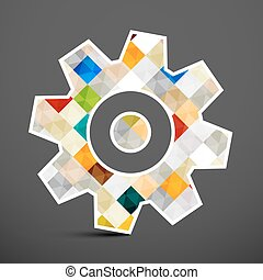 Cog Icon. Colorful Squares Inside Gear Symbol. Vector Illustration.