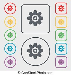 Cog settings, Cogwheel gear mechanism icon sign. symbol on the Round and square buttons with frame. Vector