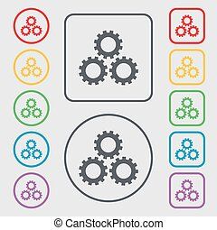 Cog settings sign icon. Cogwheel gear mechanism symbol. Symbols on the Round and square buttons with frame. Vector