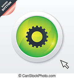 Cog settings sign icon. Cogwheel gear mechanism symbol. Green shiny button. Modern UI website button with mouse cursor pointer. Vector