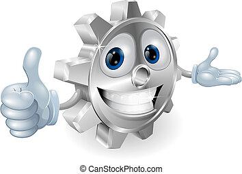 Cog thumbs up mascot illustration