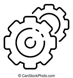 Cog wheel gear icon, outline style