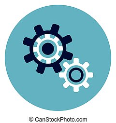 Cog Wheel Icon On Round Blue Background