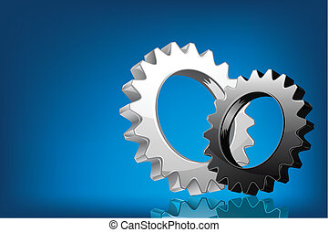 Cog Wheel - illustration of pair of cog wheel on abstract ...