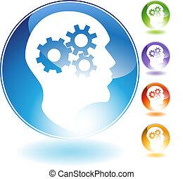 Cog Wheel Mind Crystal Icon - Cog wheel mind crystal icon...