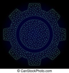 Cog Wheel Polygonal Frame Vector Mesh Illustration