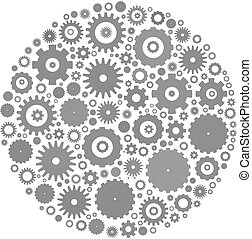 Cog wheels arranged in circle shape. Grey abstract vector ...
