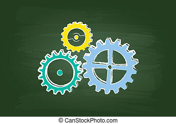 Cog Wheels Mechanism On Green Chalkboard