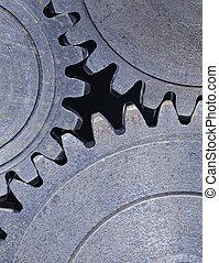 Cog wheels - Three old cog gear wheels in closeup.