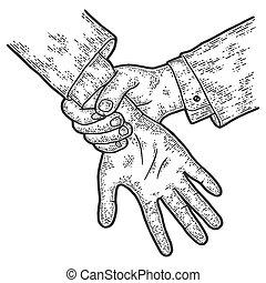coger, rasguño, tabla, ladrón, court., imitation., manos, ...