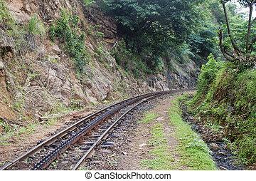 Cogged railway in Nilgiri mountains, India