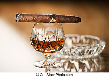 Cognac and cigar - Beautiful cognac with cuban cigar close...
