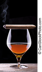 Cognac and Cigar on black