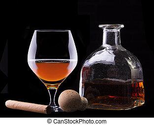 Cognac and Cigar on black