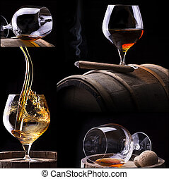 Cognac and Cigar on black with barrel collage