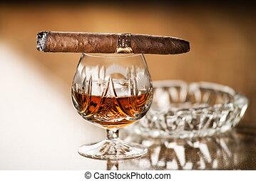 Cognac and cigar - Beautiful cognac with cuban cigar close...