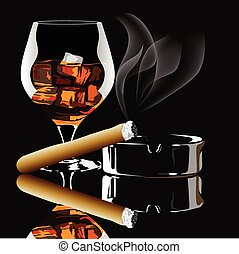 Cognac and cigar with smoke