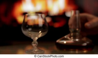 Cognac and fireplace