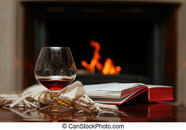 Cognac by the fireplace