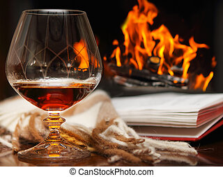 Cognac by the fireplace - Cognac, book and shawl by the...