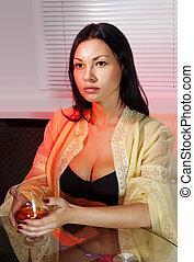 cognac, femme, boissons