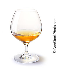 cognac glass with gold cognac on a white