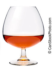 Cognac in a glass, isolated, white background