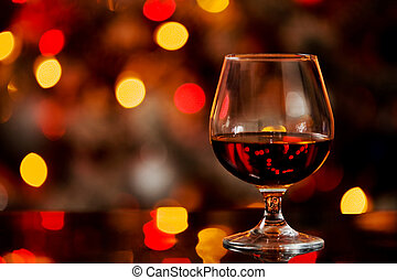 Cognac in front of a bokeh background - photo of cognac...