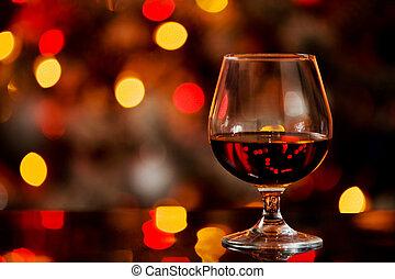 Cognac in front of a bokeh background - photo of cognac...