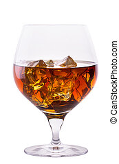Cognac or brandy isolated