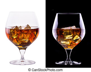 Cognac or brandy on a white and black background