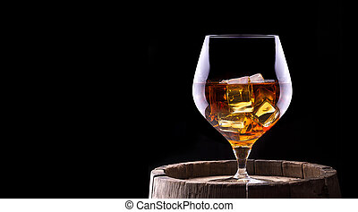 Cognac or brandy on a wooden barrel - Cognac or brandy on a...