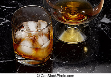 cognac, whisky