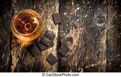 Cognac with bitter chocolate.