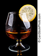 cognac with lemon in a classic glass