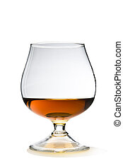 Cognac and Glass Snifter on White with Clipping Path Included.