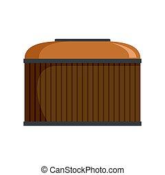 Cognac wood barrel icon, flat style
