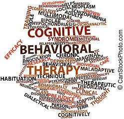 Cognitive behavioral therapy - Abstract word cloud for...