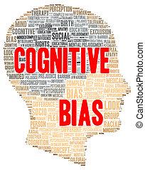 Cognitive bias word cloud shape concept