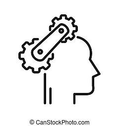 cognitivo, processo, ilustração, desenho