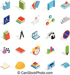 Cognizance icons set. Isometric set of 25 cognizance vector icons for web isolated on white background