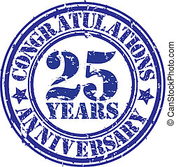 cogratulations, 25, anni, anniversario, grunge, bollo gomma, vettore, illustrazione